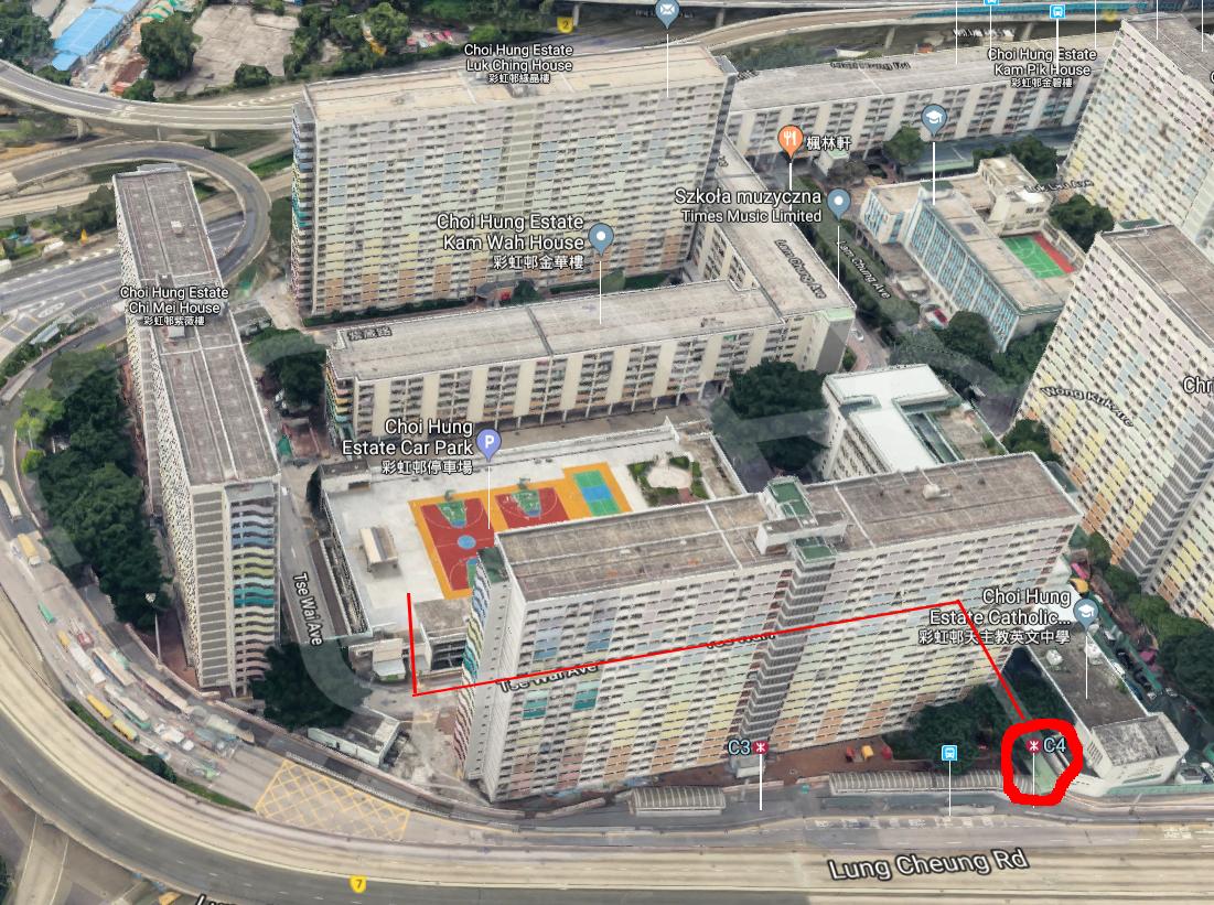 Jak dojść na boisko w Hongkongu - Choi Hung Estate?