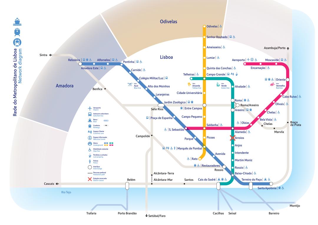 Metro w Lizbonie mapa