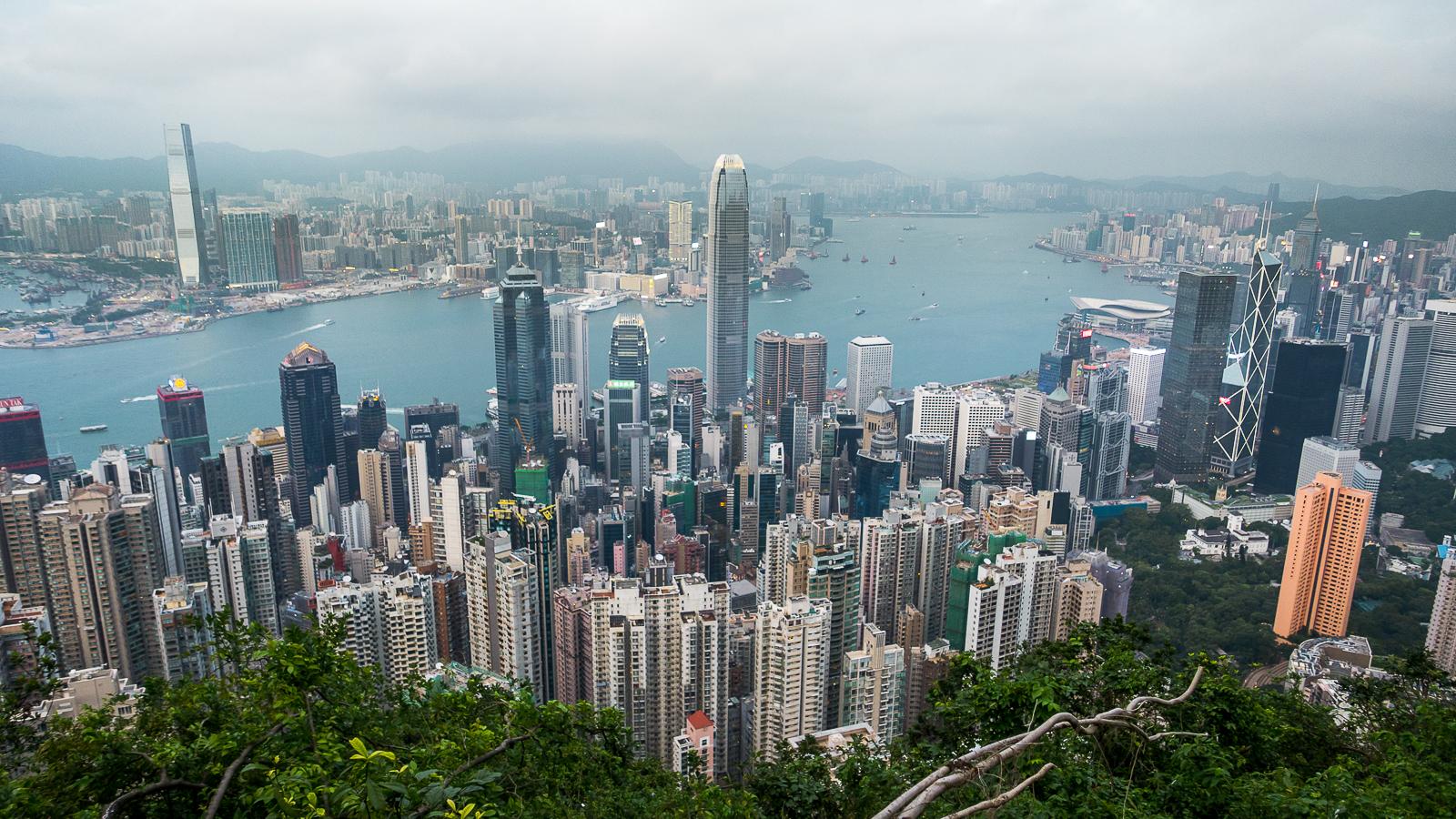 Widok na Central Hongkong z Wzgórze Wiktorii Victoria Peak - plan podróży