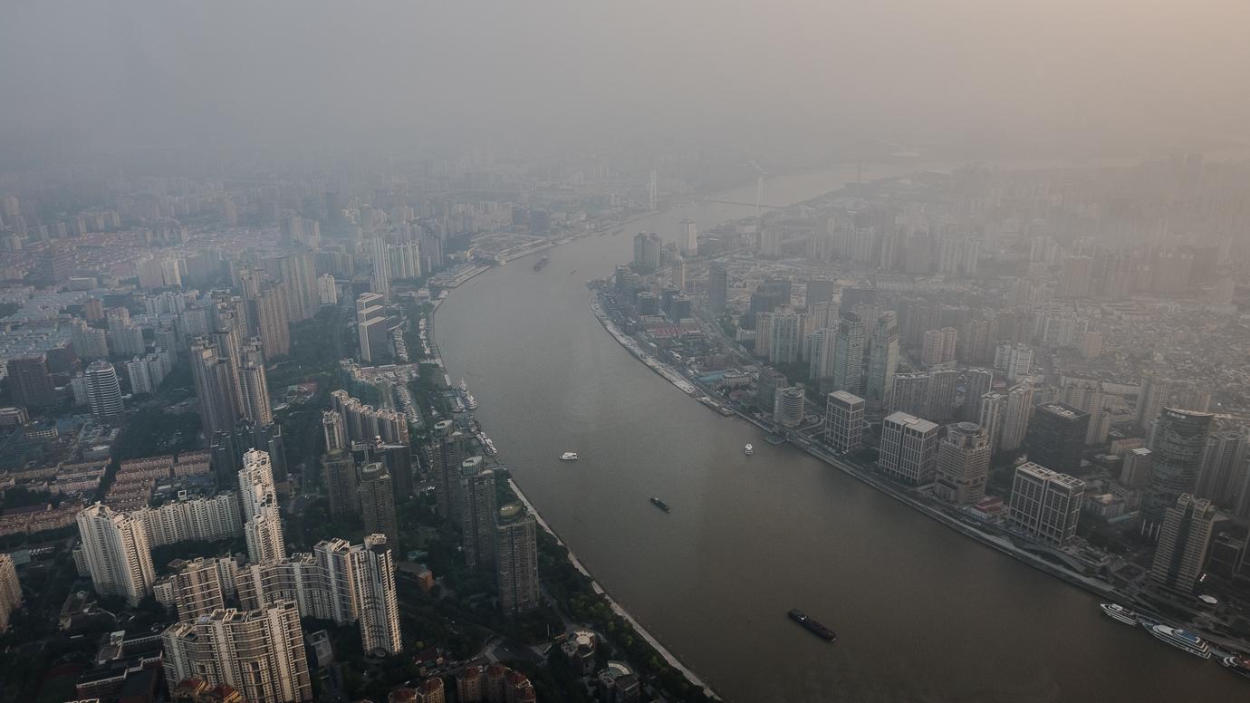 Widok z Szanghaj Tower - najwyższy budynek w Chinach
